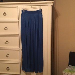 Blue silk BCBG maxi skirt